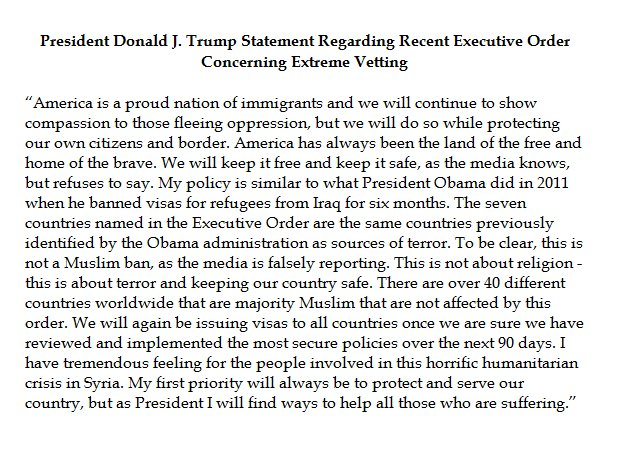 Moments ago, @POTUS issued this statement regarding his Executive Order concerning extreme vetting.