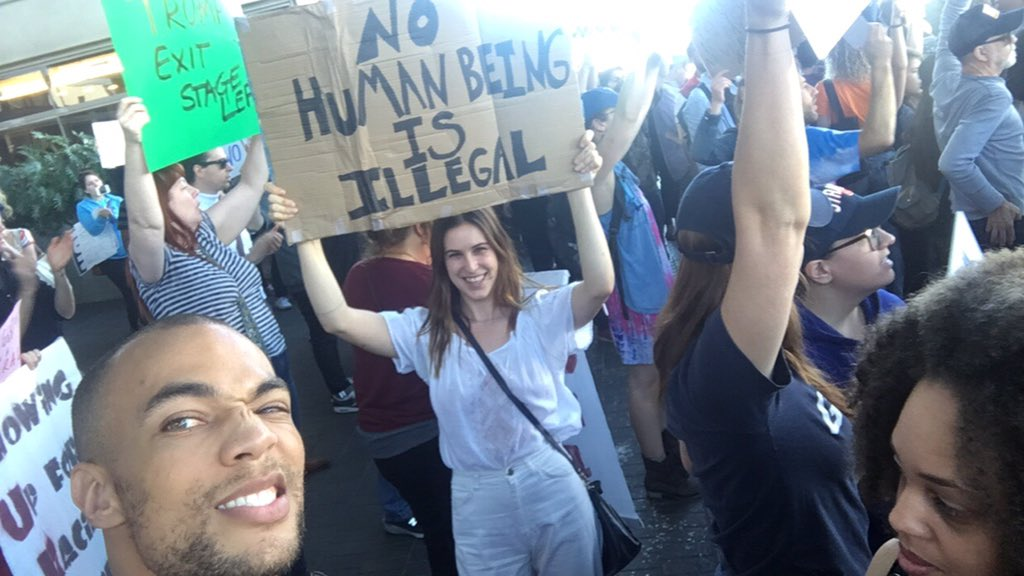 RT @kendrick38: No human being is illegal #LAX #NoBanNoWall @Scout_Willis ✊???? https://t.co/VdN11vcP5o