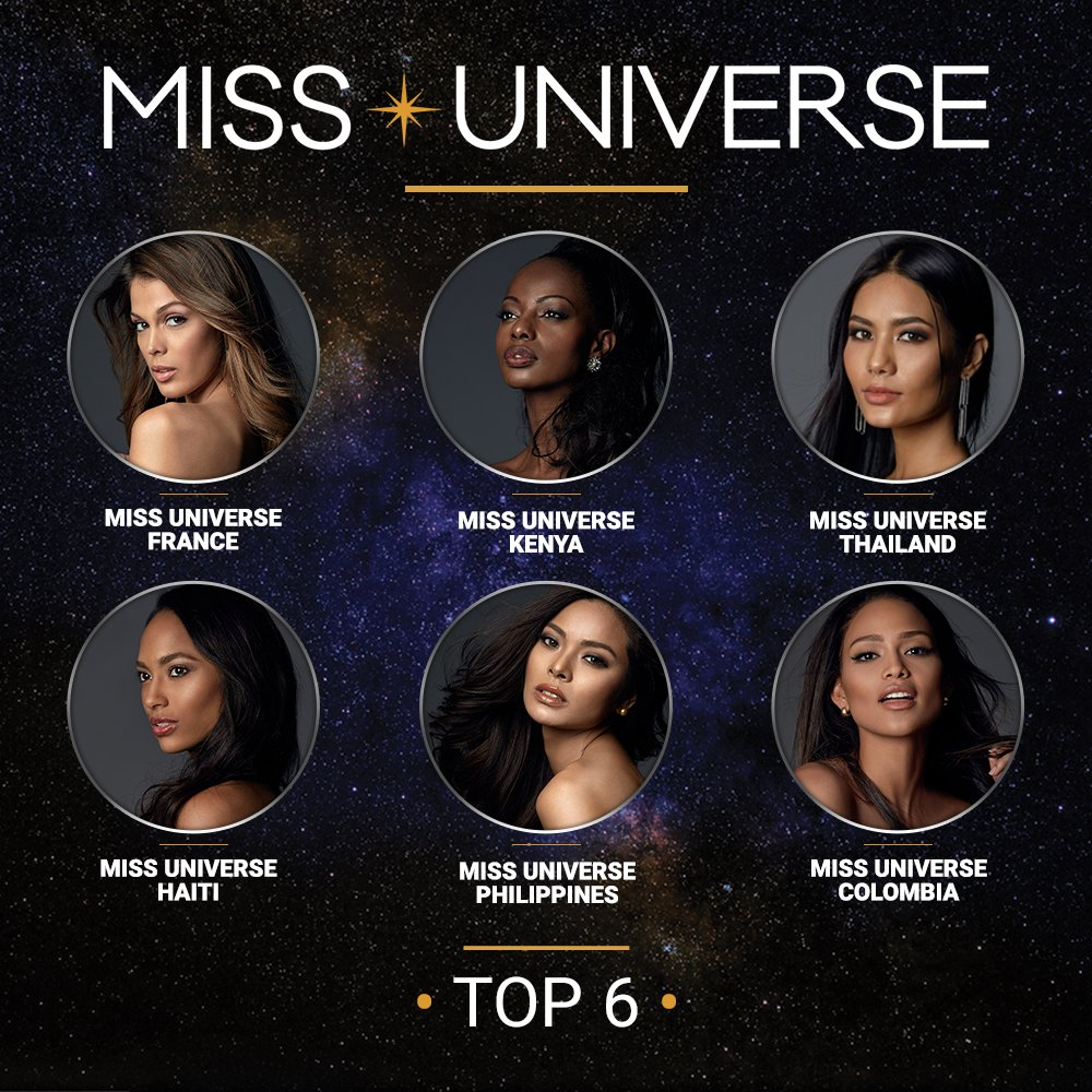 France, Kenya, Colombia, Philippines, Thailand and Haiti are in the top 6! #MissUniverse