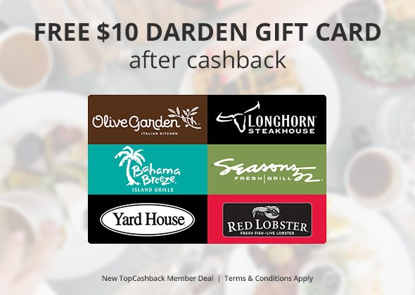HURRY and snag this $10 Darden Gift Card Freebie (referral link) free
