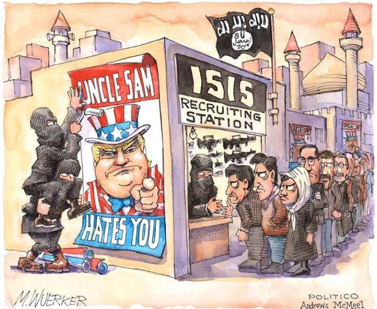 The impact of Trump's travel ban, as seen from @wuerker's drawing table. https://t.co/pfh1fyW7YS