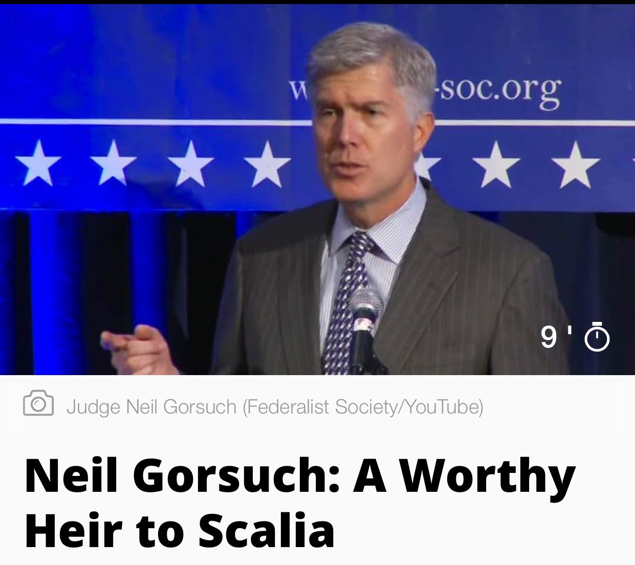 Trump announces Judge Neil Gorsuch as #SupremeCourt nominee. 'A worthy heir to Scalia' Very respected judge. #SCOTUS https://t.co/Kn7631kOt0