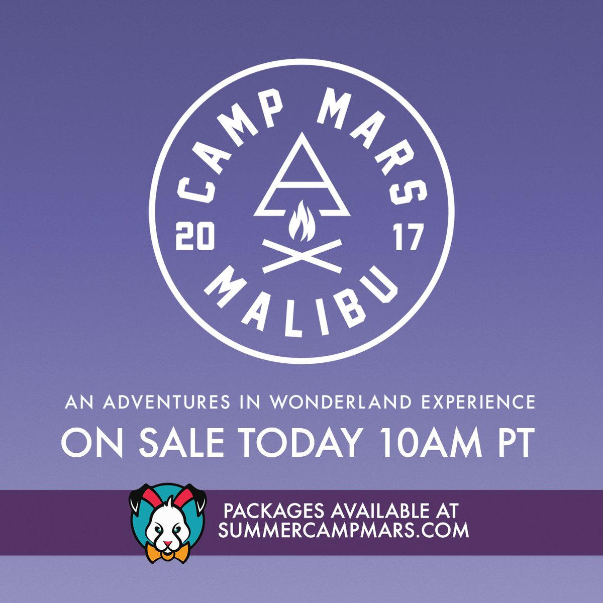 Ready? ONE HOUR UNTIL CAMP MARS FESTIVAL 2017 ON SALE! https://t.co/KCDYtBAekt #CampMars https://t.co/mqtvrafELB