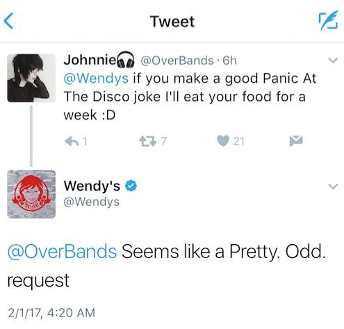 eating @wendys for a week, replying at 4:20… definitely nothing odd going on here ;) https://t.co/bQ2XXKrl1S