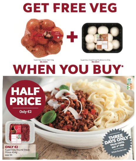 Wow 2 Free Veg with a pack of Round Steak Mince all just €2.00 https://t.co/uauJDMF0rH
