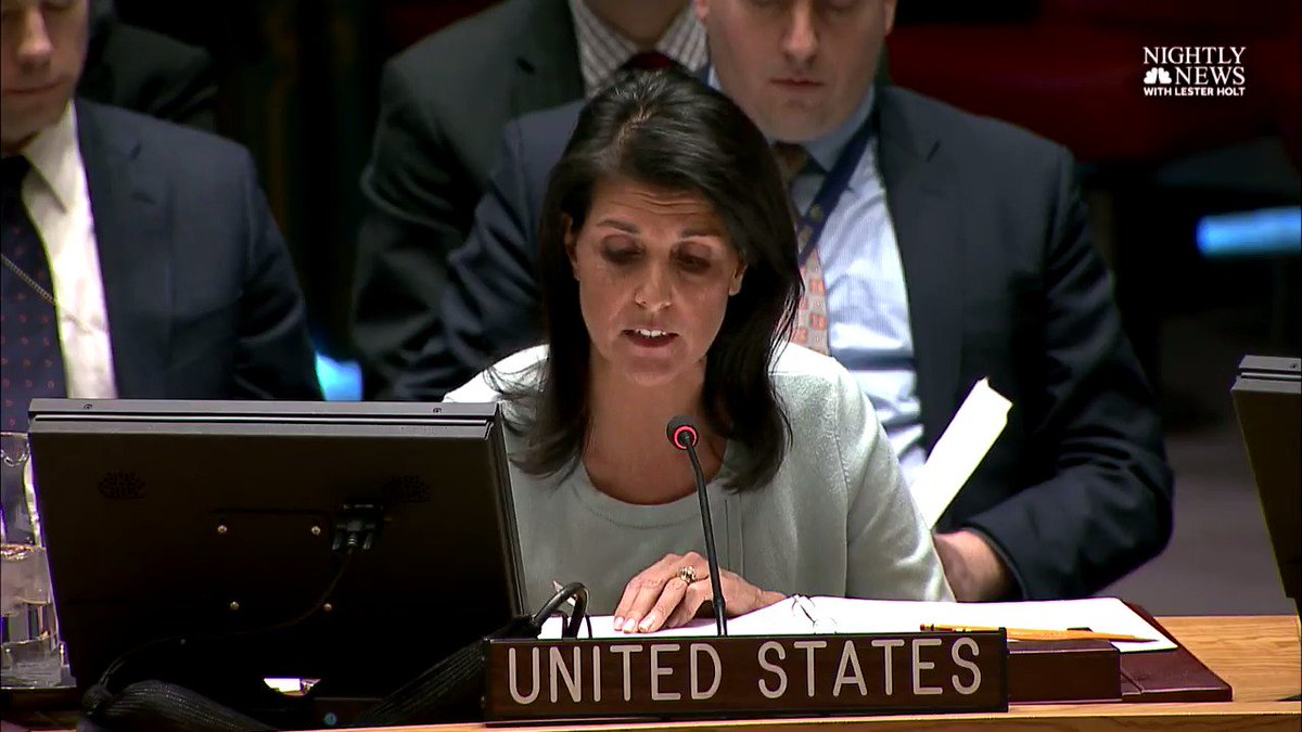 BREAKING: US Amb. to UN Haley: 'I must condemn the aggressive actions of Russia' in eastern Ukraine.