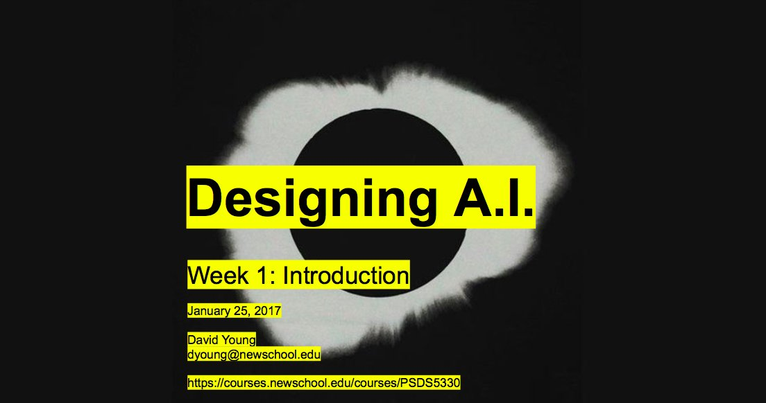 test Twitter Media - Just posted the slides from week 1's intro lecture #DesigningAI @parsonsdesign @TheNewSchool https://t.co/8D1zBGNMGG https://t.co/W1bbVnqy3N