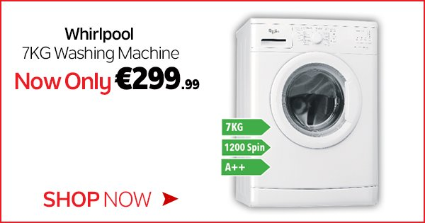 Get the Whirlpool 7KG Washing Machine for only €299.99 in store & online! Shop now - https://t.co/qLx7KfKHhJ https://t.co/UbgIWXN36j