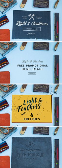 Light & Feather: 4 Free MockUps collection feather free freebie freebies light mockup