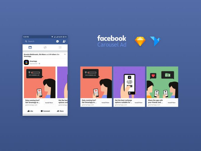 Facebook Carousel Ad Mockup   Template by ResuRRectorX freebie