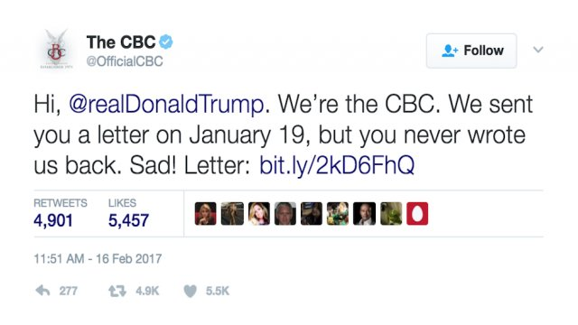 Congressional Black Caucus: We wrote Trump a letter but he never responded https://t.co/o8aLEcMKAU https://t.co/qLE3rGq5jc