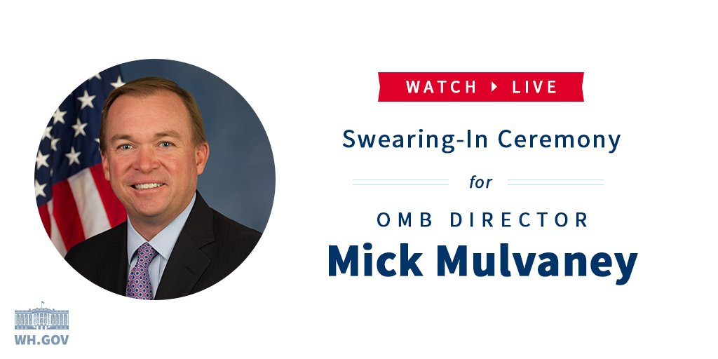 Coming up LIVE @VP Pence participates in the swearing-in of OMB Director, Mick Mulvaney