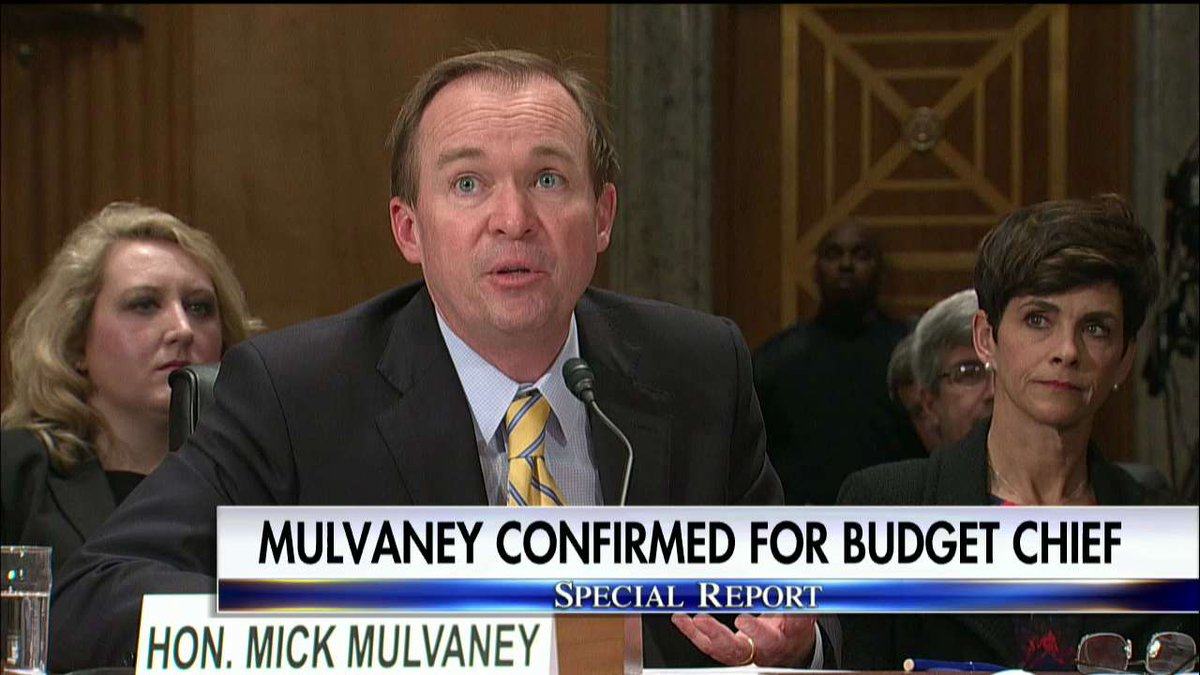 .@RepMickMulvaney confirmed for Budget Chief. #SpecialReport https://t.co/xeeOKo5JhU