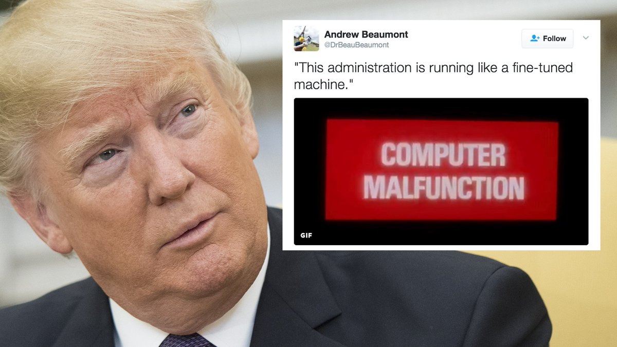 People on Twitter are mocking Trump's claim that his administration is a 'fined-tuned machine' #TrumpPressConference