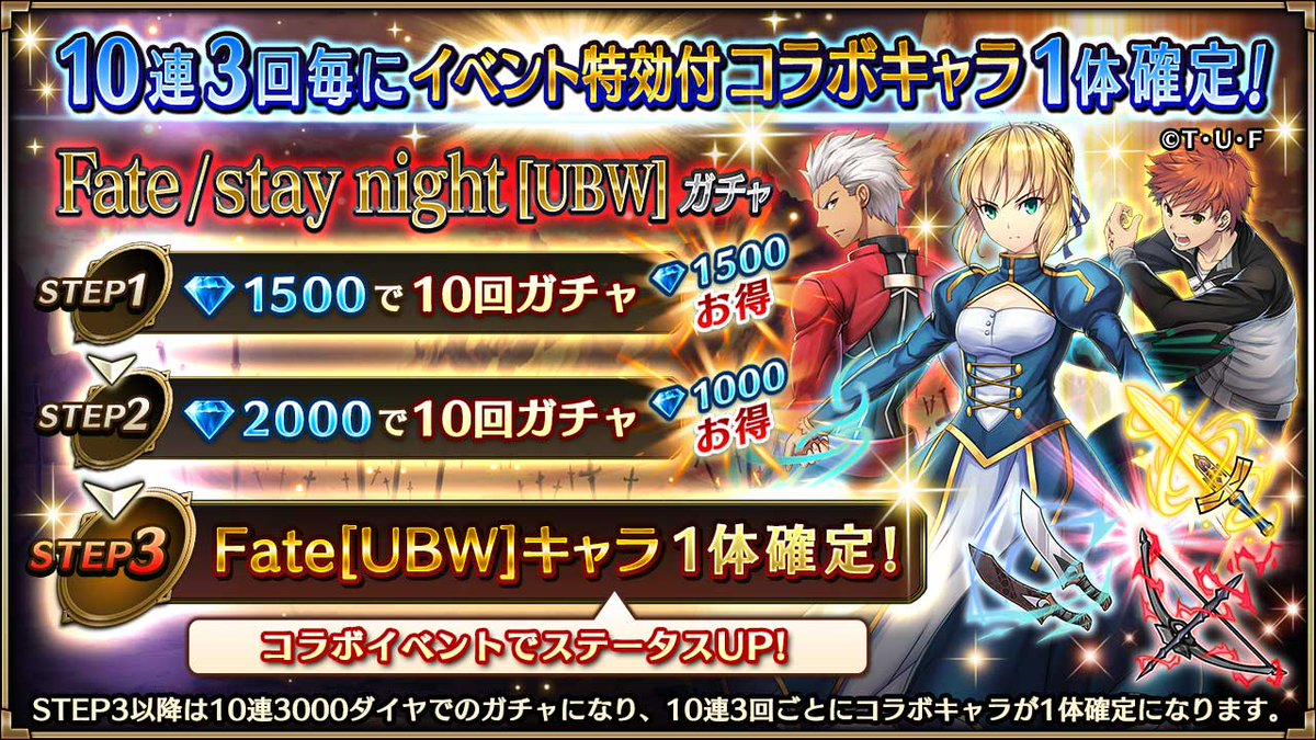 【Fate/stay night[UBW]ガチャ】[衛宮士郎]は「ギルガメッシュ降臨」でステータスが超アップ!ギルガメッ