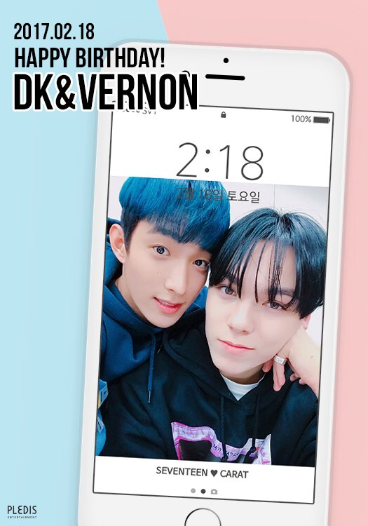20170218 Happy DK&VERNON's Day♥ #Happy_DK_VERNON_Day #SEVENTEEN #DK #VERNON https://t.co/Q67cG9EZ2u