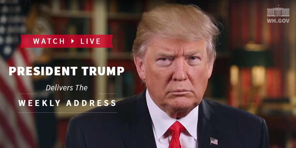 Join us at 11am EST for @POTUS Trump's Weekly Address: https://t.co/yNfQwKdlE2 https://t.co/0RRosyS5EB