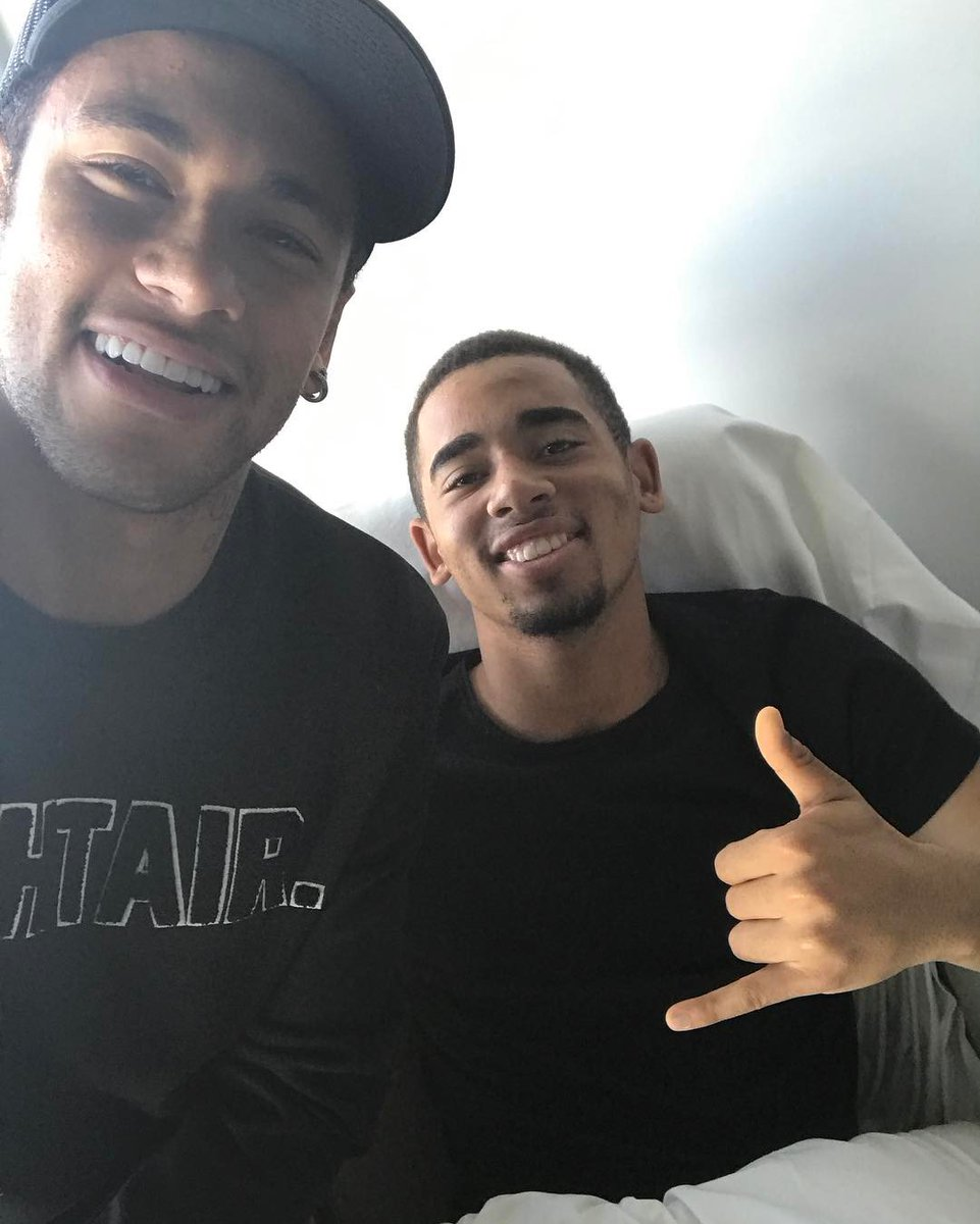 Neymar visits Man City star Gabriel Jesus in hospital