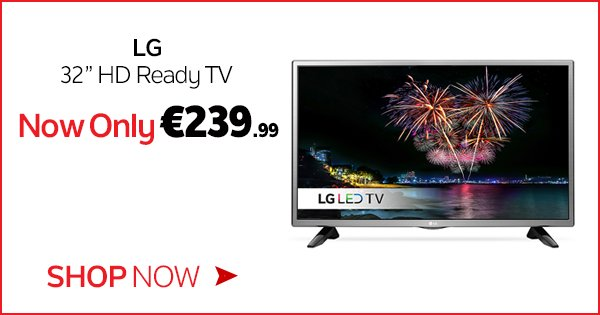 "This weekend, head in store/online & get the LG 32"" HD Ready TV for only €239.99! Shop Now - https://t.co/psY1qM94xf https://t.co/NX6dswDQ9v"