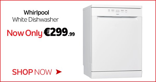 Get the A+ rated Whirlpool White Dishwasher for only €299.99! Get yours in store or online - https://t.co/zv194yL4Tu https://t.co/PFxHOsjpDh