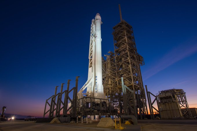 Falcon 9 and Dragon at historic launch pad 39A. Liftoff slated for Saturday at 10:01am ET.