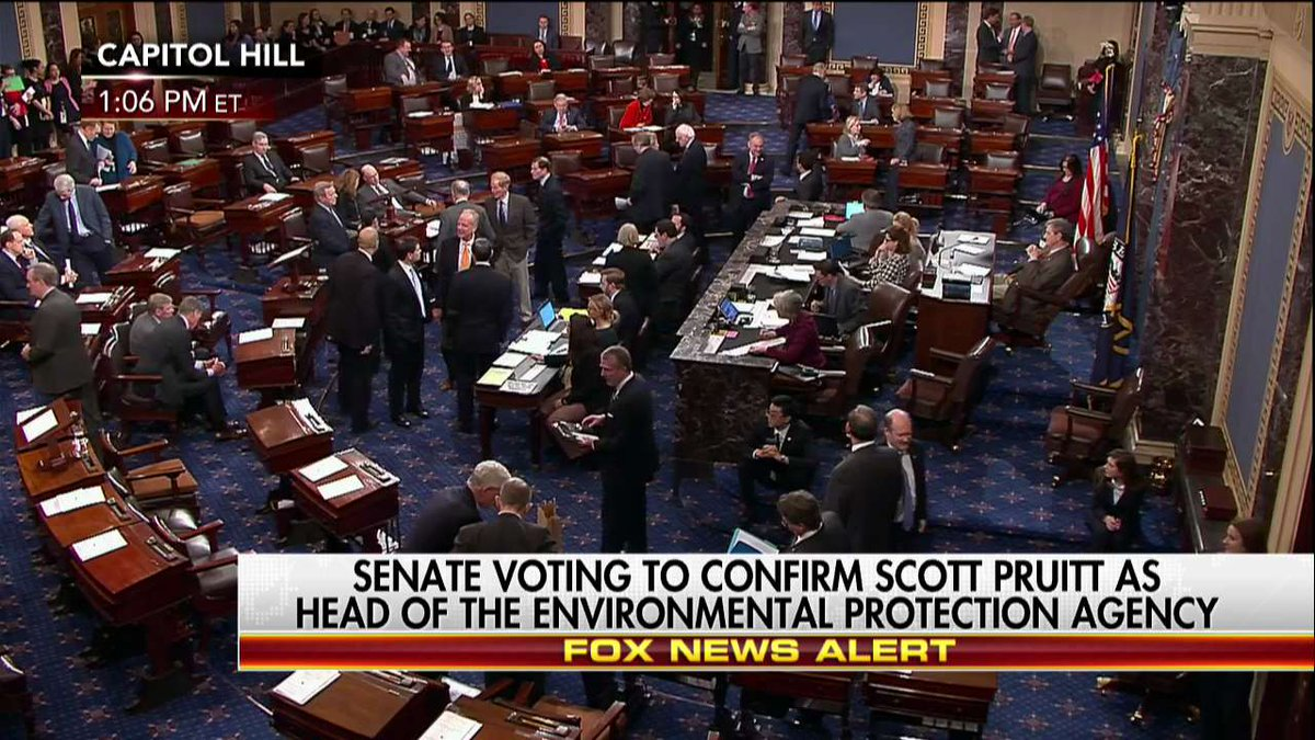 Right Now Senate voting to confirm @AGScottPruitt as head of @EPA.