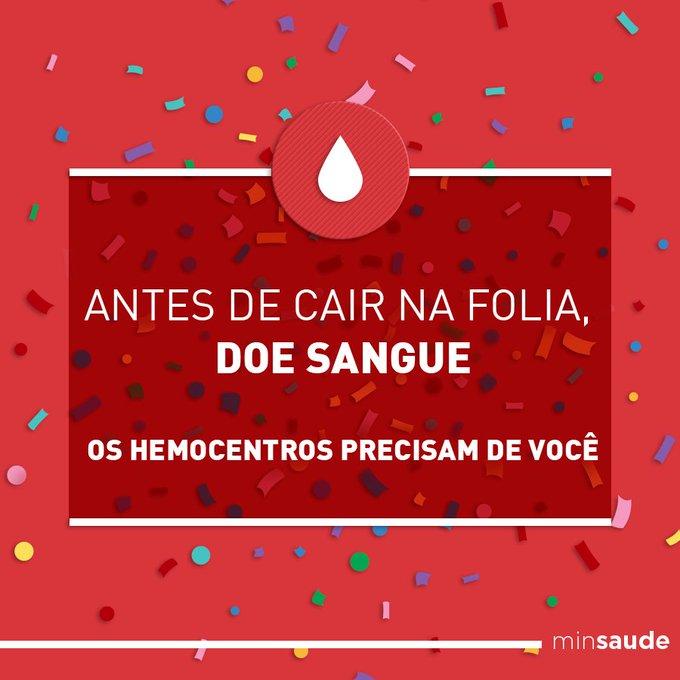 Durante o carnaval os estoques dos hemocentros ficam baixos. Q tal doar sangue e ajudar até 4 pessoas? ❤️ #DoeSangue