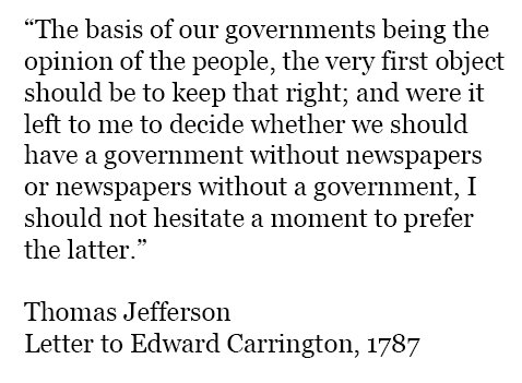 Thomas Jefferson had it right. He also stipulated that he would require everyone to read them!