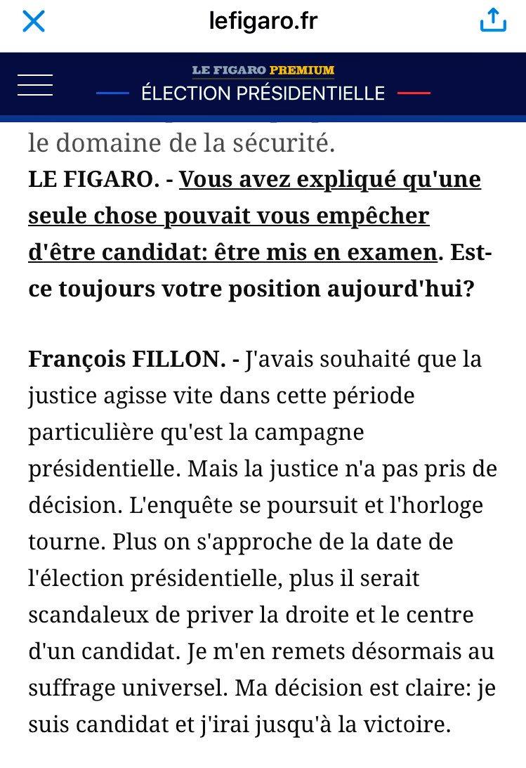 22 jours plus tard, Fillon revient officiellement sur son engagement dans Le Figaro : être mis en examen ne l'empêchera pas d'être candidat.