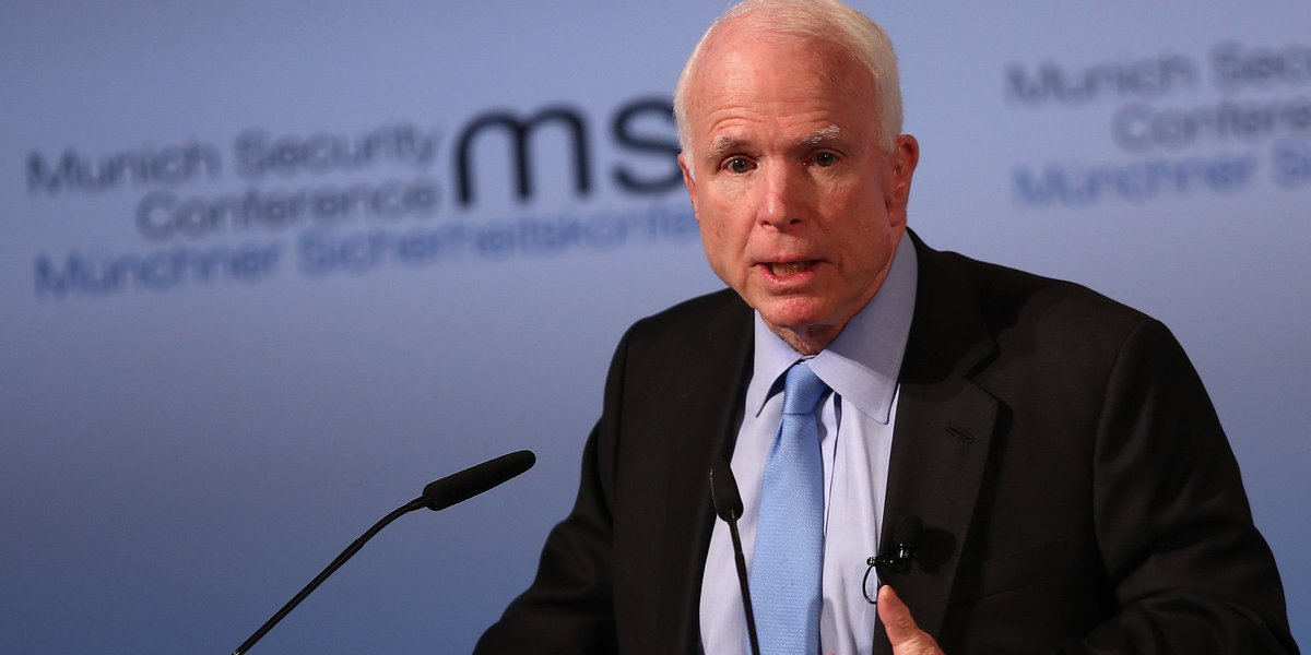 John McCain urges the world not to give up on America, despite Trump