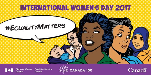 RT @Women_Canada: Gender #EqualityMatters in 2017 as we celebrate #Canada150 and #I https://t.co/wQlLUHdHLS WD2017 https://t.co/SHuWaIfZAF