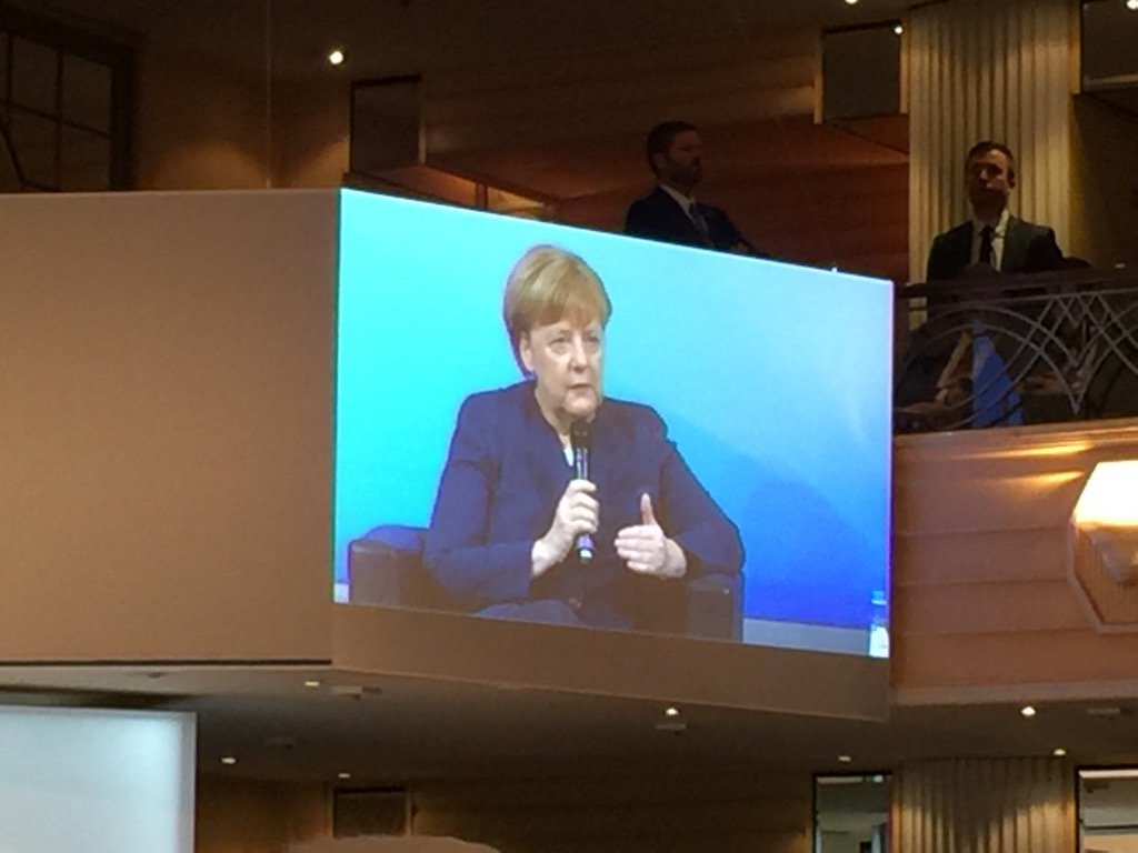 Contradicting Trump with Pence in the room, Merkel says, 'Freedom of the press is a pillar of democracy.' MSC2017