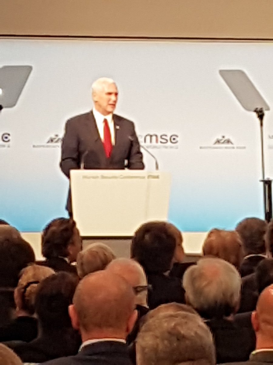 Pence says to Europeans, 'we stand by you'. People around me roll eyes.