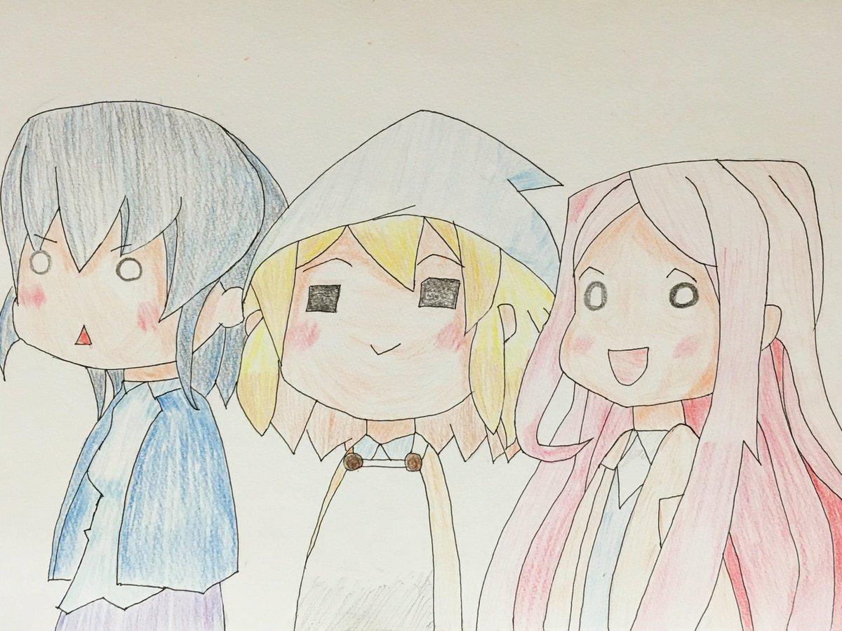 過去絵を(ryその33月29日、てゐを描いたすぐ後に描いたJKめし!の3人組。勢いで描いた、後悔はしていない。4月14日