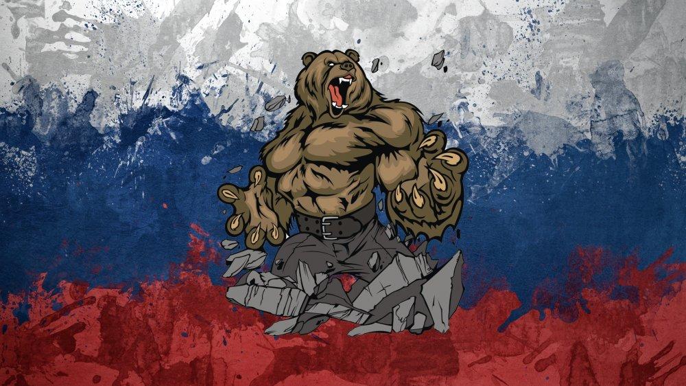 обои на рабочий стол русский медведь на фоне флага № 174782 загрузить