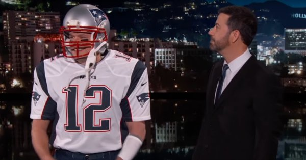 Is that you, Tom Brady? Nope, it's just Matt Damon pretending: