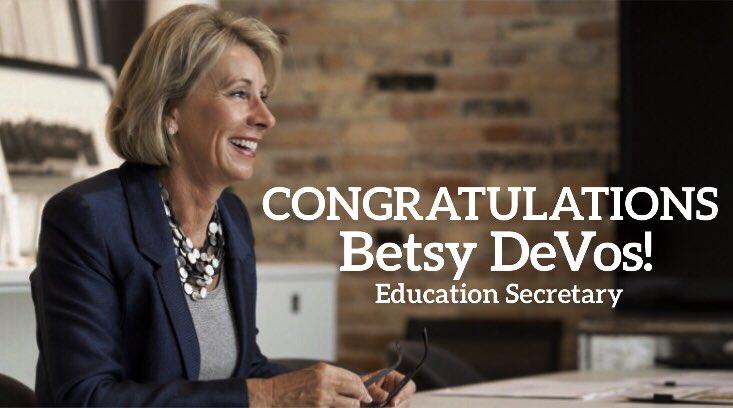 Congratulations to our new Education Secretary, @BetsyDeVos!
