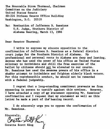 Here is the Coretta Scott King letter that Elizabeth Warren read from — and was then rebuked, and silenced, for doing so.