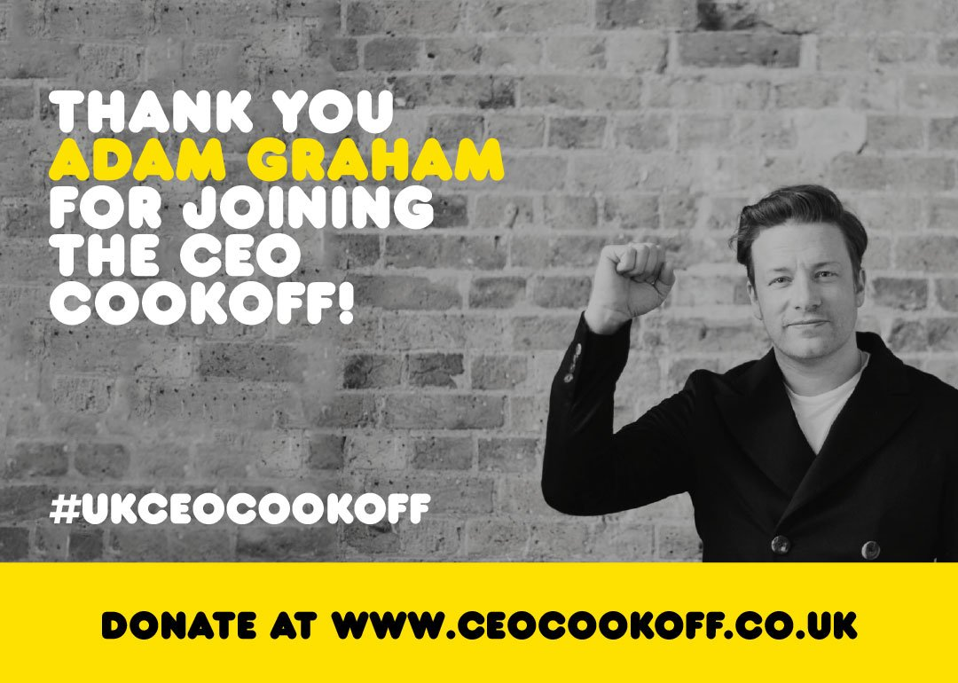 .@TMG_PLC Thank you Adam for joining me in the #UKCEOCookOff !!! Really appreciate the support big love jamie x x https://t.co/jhWfH48ZfG