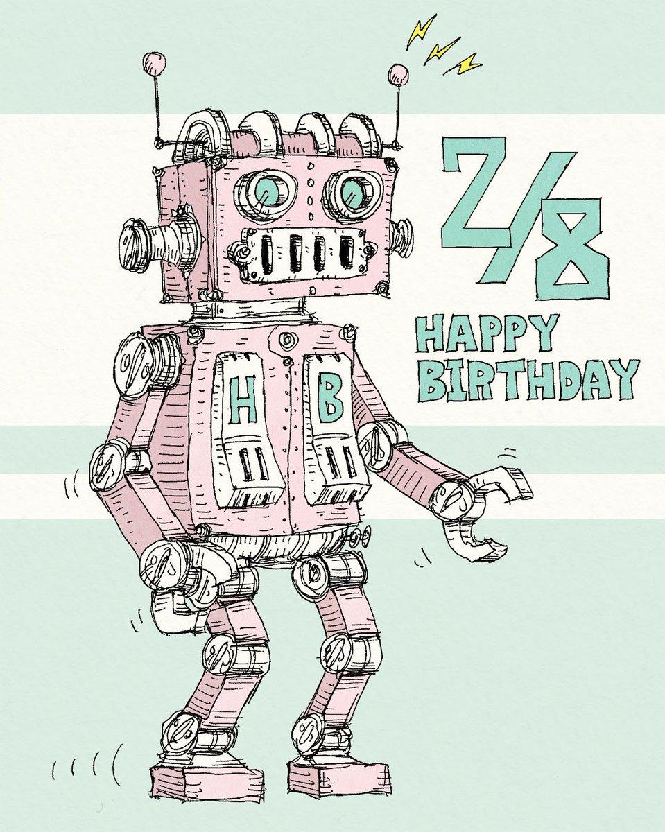 今日も誰かの誕生日。2/8生まれの方、お誕生日おめでとうございます。「ピンクロボット」2/8は漫画家・鈴木央さんのお誕生