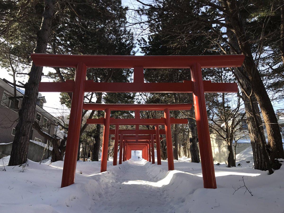 いなりこんこん恋いろは。最終回EDで出てくる札幌伏見稲荷神社雪景色で良い感じもちろん千本鳥居もあります♪( ´▽`)