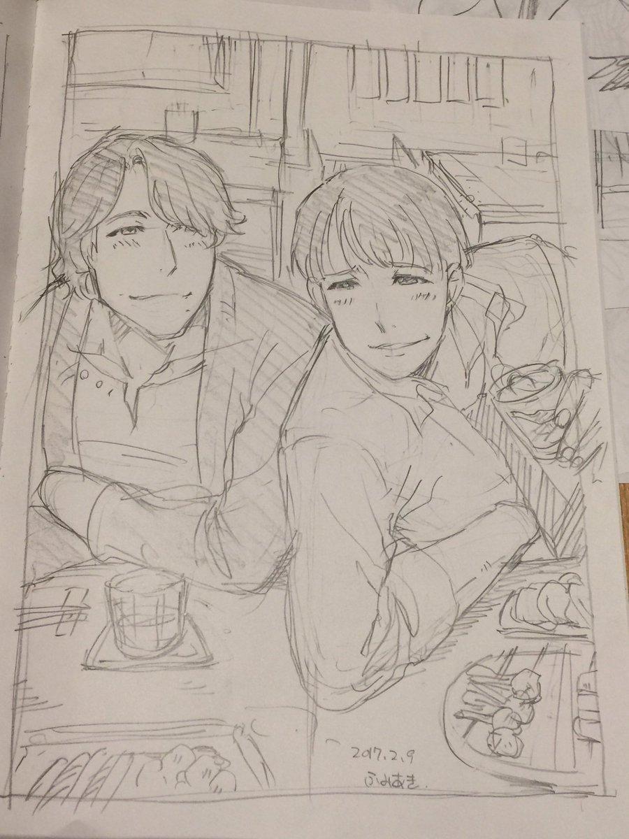 ふみあきさんに描いてもらったSHIROBAKOの呑んでる下柳さん&遠藤さんと営業中?のナベP