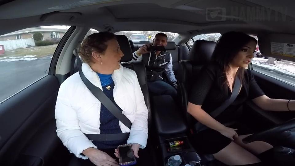 Heand porn girl in car video