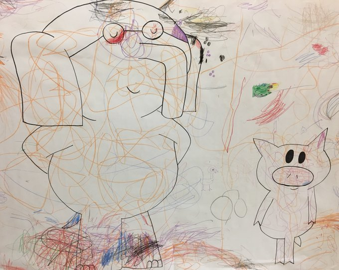 The kids take their tribute art seriously. Happy birthday, Mo Willems!