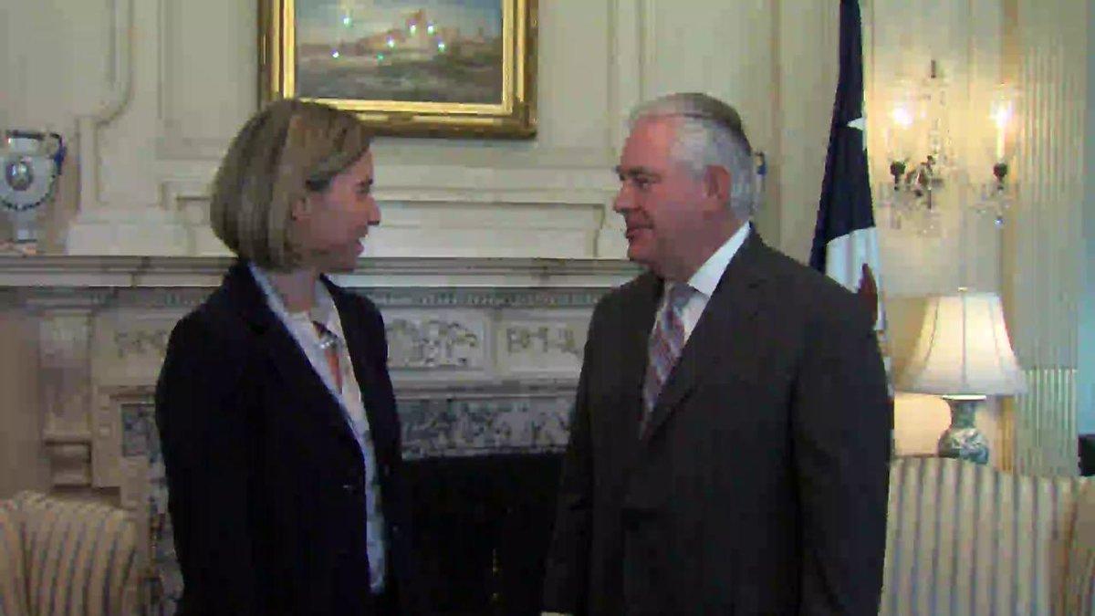 Today Secretary Tillerson met with @eu_eeas High Representative @federicamog in Washington.