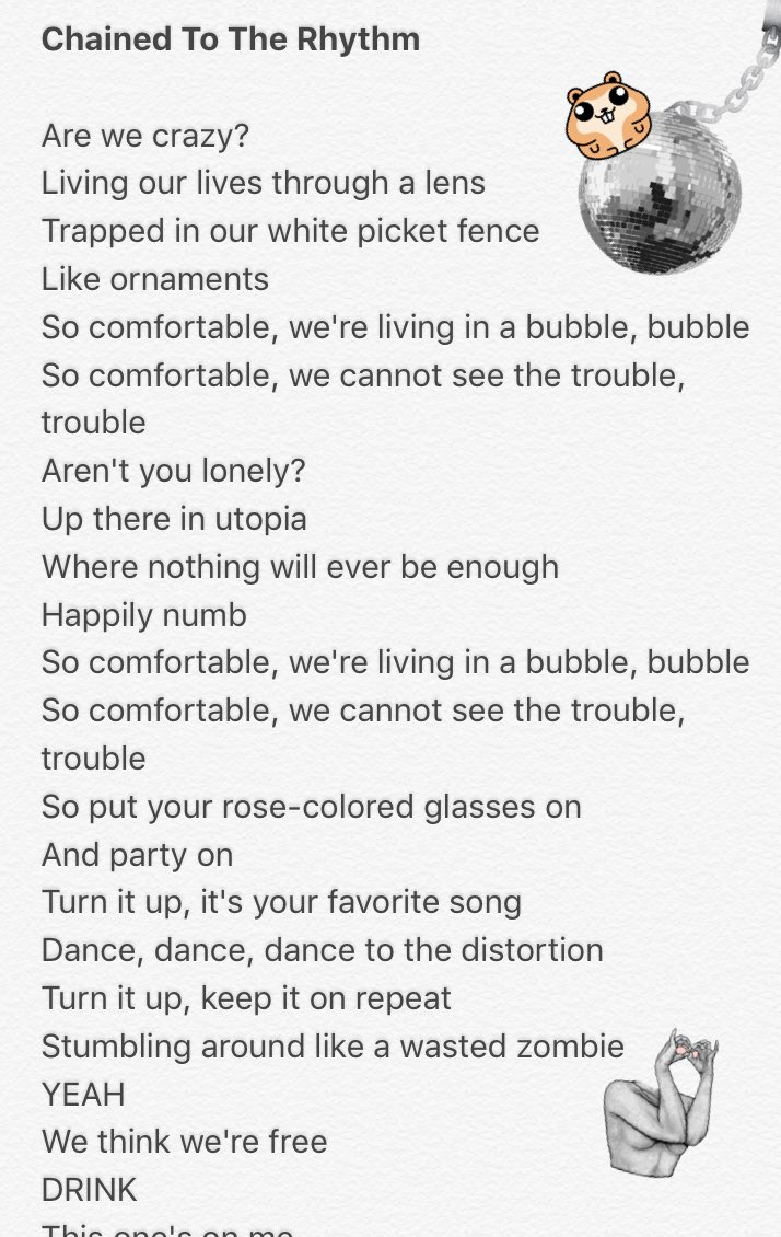 i already uploaded the lyrics to a web site aaaaand i'm also obsessed #ChainedToTheRhythm @katyperry https://t.co/ToA5IiOTm9