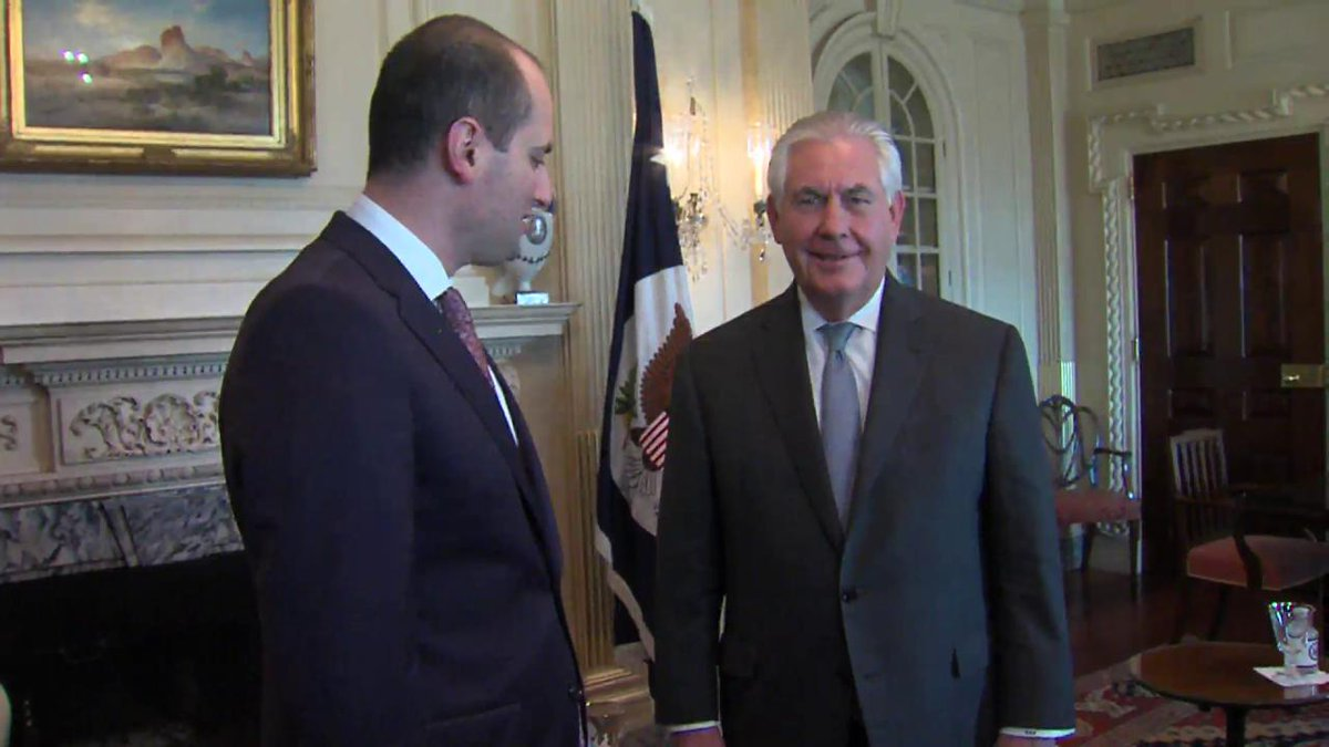 This morning, Secretary Tillerson met with the Foreign Minister of #Georgia, Mikheil Janelidze.