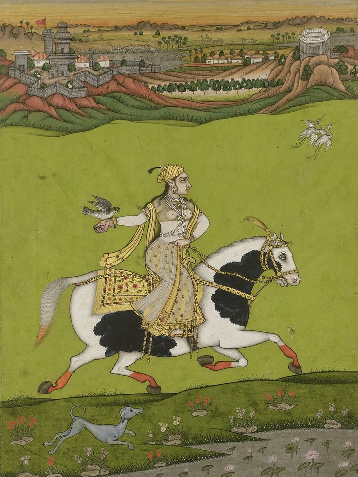 A portrait of Chand Bibi Hawking, India, Deccan, 18th century.  | @MenschOhneMusil RT @GuruMariachi https://t.co/BJg9x5tTKl