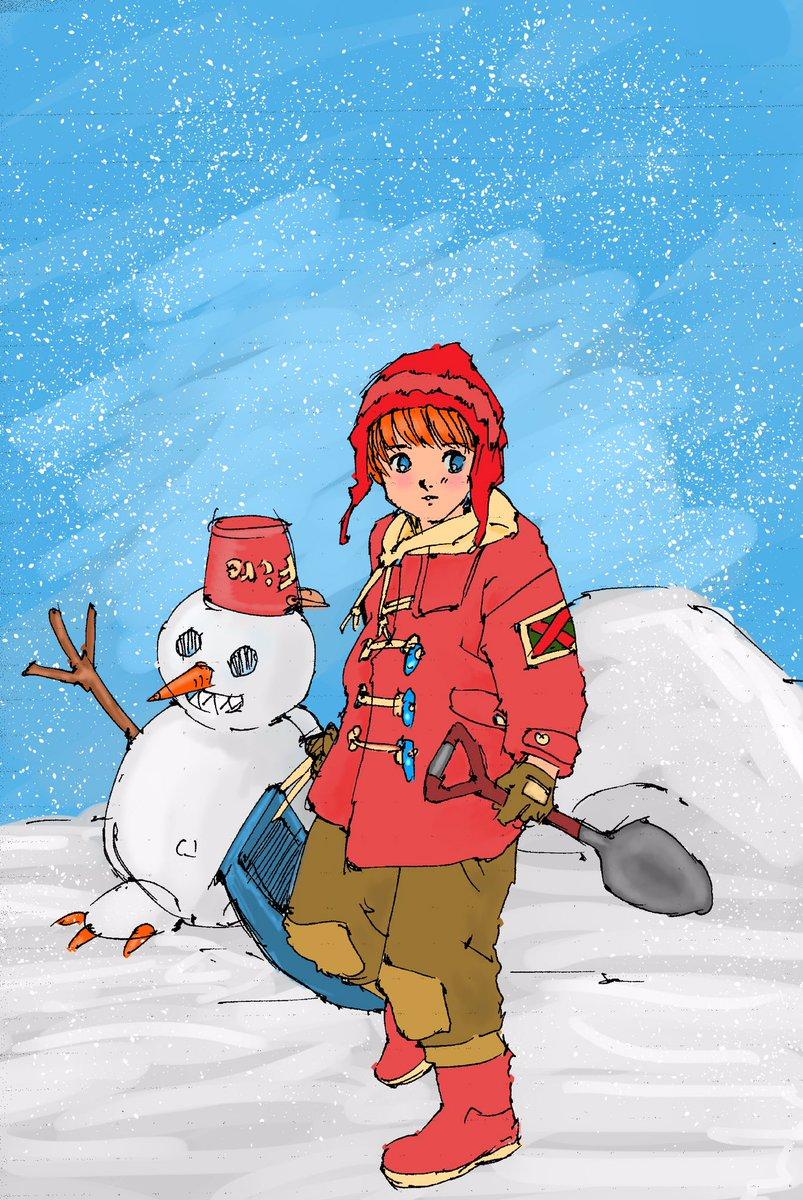 春のような日に、なぜか雪あそびの絵。私はマンガが主戦場なので、気楽に彩色。ちょっと疲れたんで。   「有頂天家族」良いな
