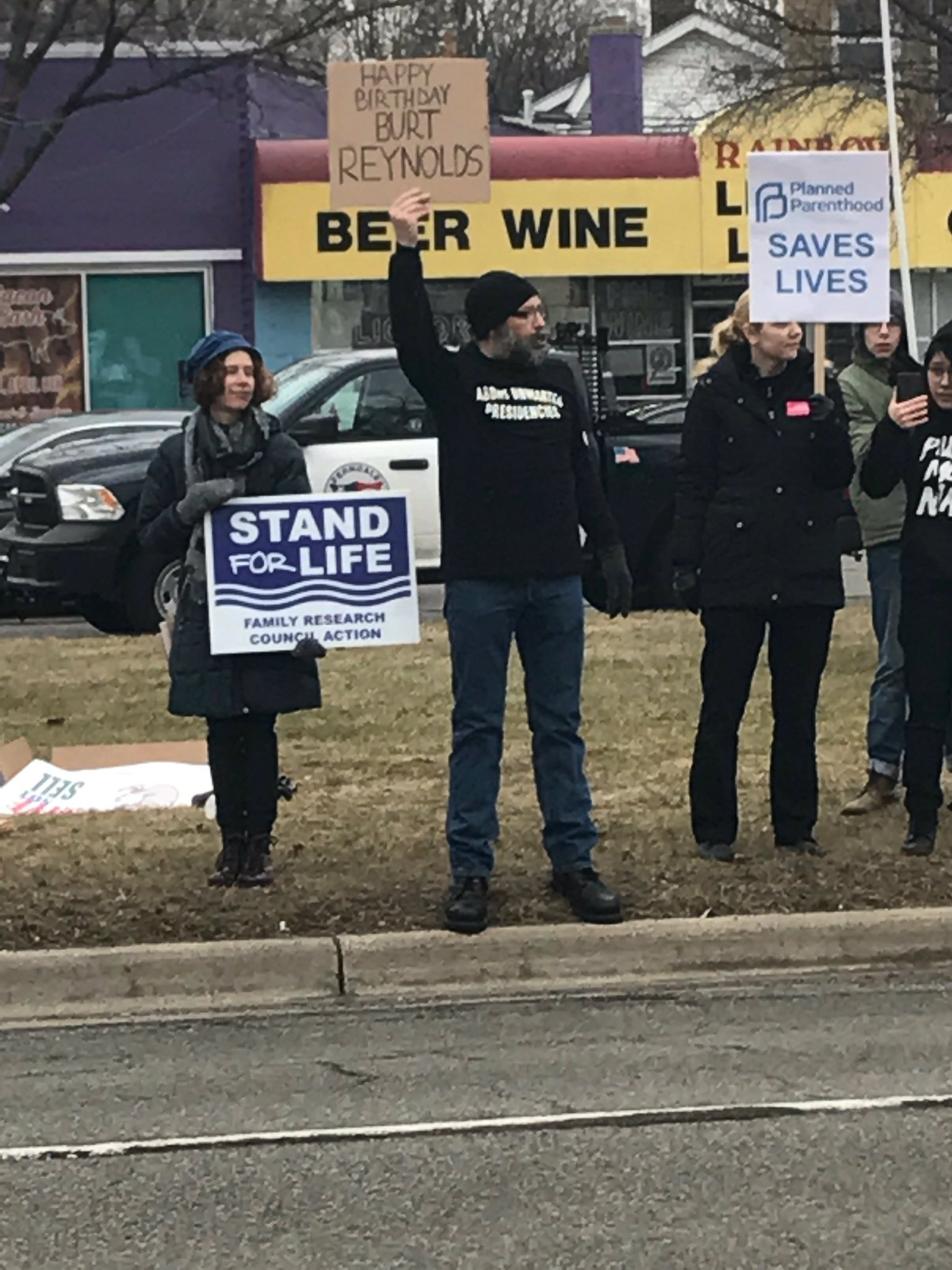 This protester was the hero Ferndale deserves. Also, Happy Birthday Burt Reynolds!